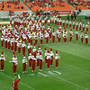 The marching band forms an H.