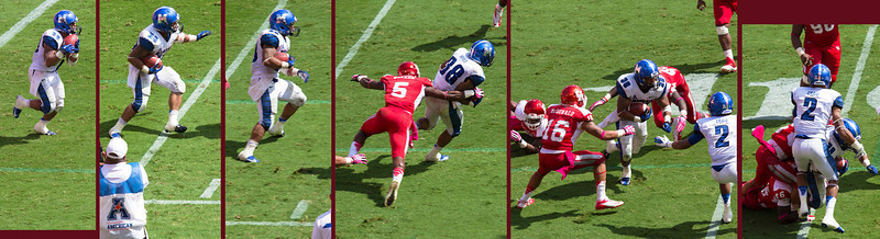 Hayes runs the ball for Memphis and is brought down.