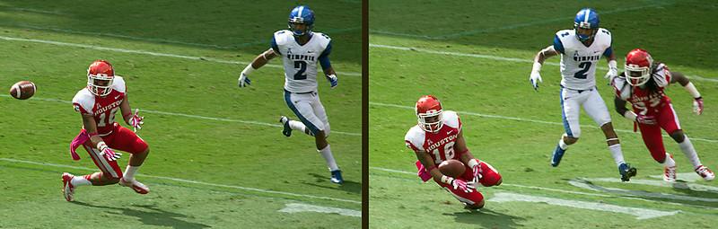 UH's MacDonald tries to intercept a pass for Memphis' Craig.