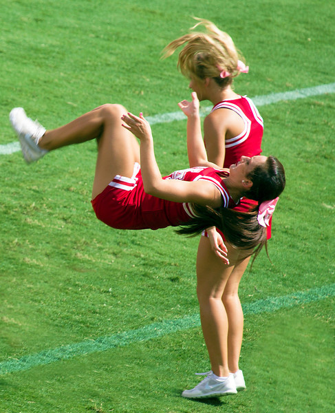 ... and cheerleaders do flips while the sirens sound.