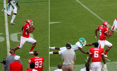 Two shot sequence of Sims running the ball