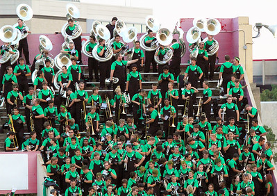 A portion of the UNT marching band in the stands