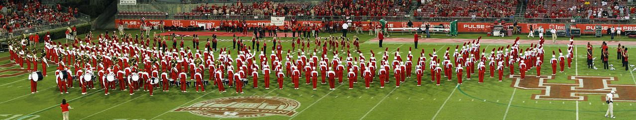 Panorama shot of the University of Houston marching band before the game
