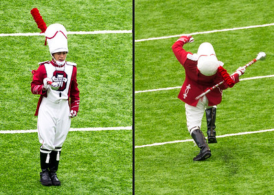 A classic Drum Major struts his stuff with the Oklahoma Band.