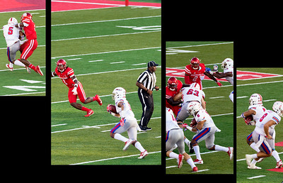 Oh -oh ... SMU QB Hicks hands off to Jones for 27 yards.