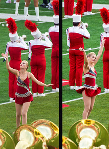 Twirler executes her catch.