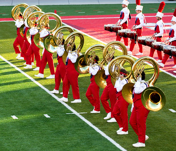 Now, here comes the band.  Led, of course, by the mighty tubas (upside down.)