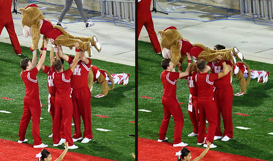 Shasta has to do his own pushups.  But Sasha gets help from cheerleaders.