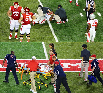 Oh oh!  This is not good.   UNLV's Peni Vea  appears seriously hurt.