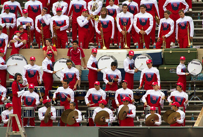 UH band percussion in the stands