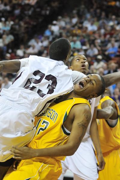 2010 Boys Basketball Tournament - 3A Semifinal Game - Dallas Madison (yellow) vs. Silsbee (white).  Dallas Madison won 67-63.