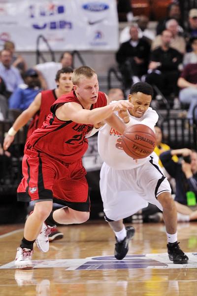 2010 Boys Basketball Tournament - 4A Semifinal Game - Lancaster (white) vs. Austin Lake Travis (red).  Lancaster won 64-56 in overtime.