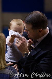 UK women's head coach Matthew Mitchell with his daughter after the UK vs. High Point basketball game at Memorial Coliseum on Saturday, Nov. 17, 2012. Photo by Adam Chaffins | Staff