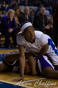Sophmore guard, Bria Goss, fighing for a jump ball during the second half of the UK vs. High Point basketball game at Memorial Coliseum on Saturday, Nov. 17, 2012. Photo by Adam Chaffins   Staff