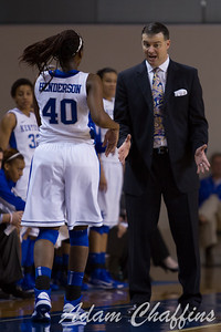 Senior forward, Brittany Henderson, and UK womens' head coach Matthew Mitchell, during the second half of the UK vs. High Point basketball game at Memorial Coliseum on Saturday, Nov. 17, 2012. Photo by Adam Chaffins | Staff