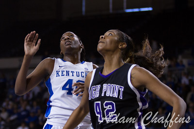Senior forward, Brittany Henderson (left), and junior center, Cheyenne Parker, going for a rebound during the second half of the UK vs. High Point basketball game at Memorial Coliseum on Saturday, Nov. 17, 2012. Photo by Adam Chaffins | Staff
