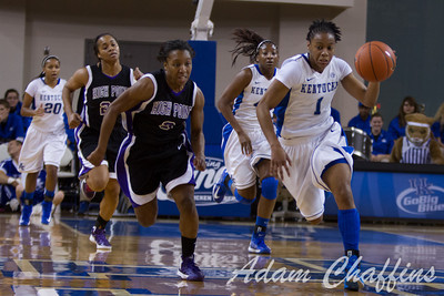 Senior guard, A'dia Mathies, wih the ball during the first half of the UK vs. High Point basketball game at Memorial Coliseum on Saturday, Nov. 17, 2012. Photo by Adam Chaffins   Staff