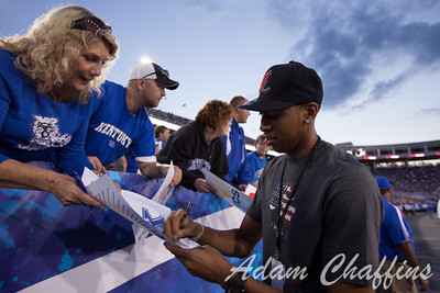 Former UK basketball star Antony Davis with the fans during the first half of the UK vs. Kent State football game at Commonwealth Stadium, Photo by Adam Chaffins