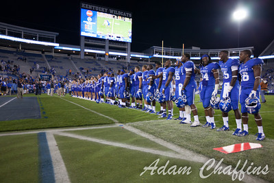 Players posing for their fans at the conclusion of the UK vs. Kent State football game at Commonwealth Stadium, Photo by Adam Chaffins
