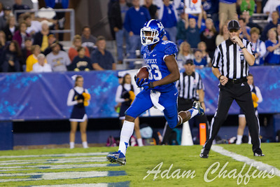 DeMarcus Sweat, freshman wide reciever scoring a touchdown during the second half of the UK vs. Kent State football game at Commonwealth Stadium, Photo by Adam Chaffins