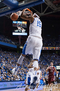 Freshman forward, Willie Cauley-Stein, dunking the ball during the first half of the UK vs. Lafayette basketball game at Rupp Arena  on Friday, Nov. 16, 2012. Photo by Adam Chaffins | Staff