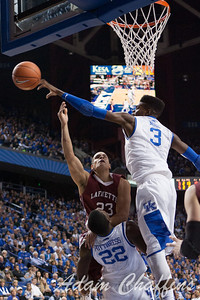 Freshman forward, Nerlens Noel blocking a shot from junior guard, Les Smith, during the second half of the UK vs. Lafayette basketball game at Rupp Arena  on Friday, Nov. 16, 2012. Photo by Adam Chaffins | Staff