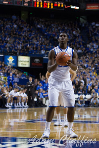 Freshman forward, Alex Poythress, shooting a free throw during the first half of the UK vs. Lafayette basketball game at Rupp Arena  on Friday, Nov. 16, 2012. Photo by Adam Chaffins | Staff