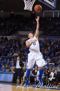 UK sophomore point guard Jennifer O'Neill making a layup during the second half of the UK vs. Marist basketball game at Memorial Coliseum on Sunday, Dec. 30, 2012. Photo by Adam Chaffins | Staff