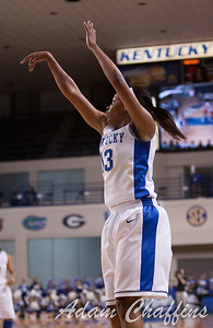 UK sophomore guard Bria Goss shooting a three during the first half of the UK vs. Marist basketball game at Memorial Coliseum on Sunday, Dec. 30, 2012. Photo by Adam Chaffins | Staff