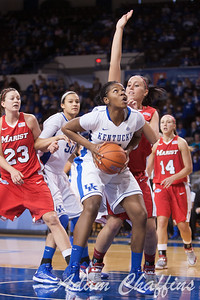 UK junior forward Jelleah Sidney during the second half of the UK vs. Marist basketball game at Memorial Coliseum on Sunday, Dec. 30, 2012. Photo by Adam Chaffins | Staff