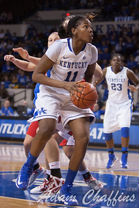 UK junior center DeNesha Stallworth under the goal during the second half of the UK vs. Marist basketball game at Memorial Coliseum on Sunday, Dec. 30, 2012. Photo by Adam Chaffins | Staff