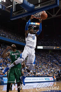 UK freshman forward Nerlens Noel dunking the ball during the first half of the UK vs. Marshall basketball game at Rupp Arena on Saturday Dec. 22, 2012. Photo by Adam Chaffins | Staff