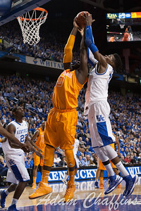 Tennessee sophomore center Yemi Makanjuola (left) and UK freshman forward Nerlens Noel (right) during the second half of the UK vs. Tennessee basketball game at Rupp Arena on Tuesday, Jan. 15, 2013. Photo by Adam Chaffins | Staff
