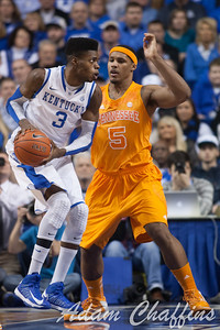 UK freshman forward Nerlens Noel and Tennessee sophomore forward Jarnell Stokes during the first half of the UK vs. Tennessee basketball game at Rupp Arena on Tuesday, Jan. 15, 2013. Photo by Adam Chaffins | Staff