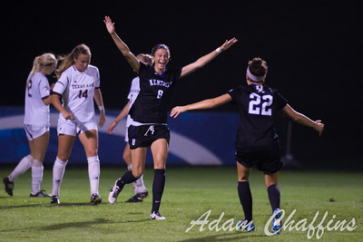Freshman Forward  Kelli Hubly, celebrating with teammates after scoring her first goal of the season during the first half of the University of Kentucky vs. Texas A&M Women's soccer game. Photo by: Adam Chaffins
