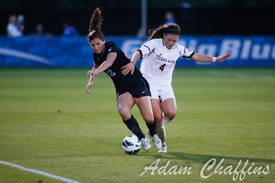 Junior Defender Ashley VanLandingham, fighting for the ball during the first half of the University of Kentucky vs. Texas A&M Women's soccer game. Photo by: Adam Chaffins