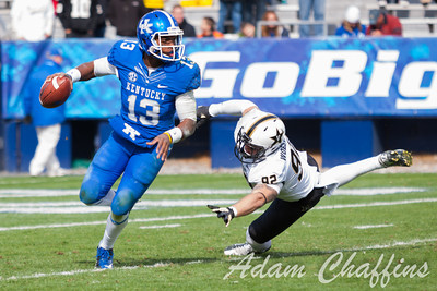 Jalen Whitlow, freshman quarterback during the second half of the UK vs. Vanderbilt football game at Commonwealth Stadium, Photo by Adam Chaffins
