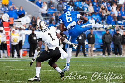 A.J. Legree, freshman wide receiver, catching a long pass during the second half of the UK vs. Vanderbilt football game at Commonwealth Stadium, Photo by Adam Chaffins