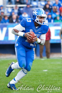 Jalen Whitlow, freshman quarterback, during the first half of the UK vs. Vanderbilt football game at Commonwealth Stadium, Photo by Adam Chaffins
