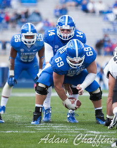 Matt Smith, senior center, and Patrick Towles, freshman quarterback, during the second half of the UK vs. Vanderbilt football game at Commonwealth Stadium, Photo by Adam Chaffins