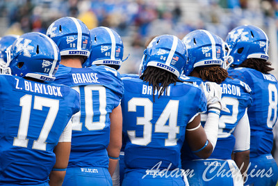 Univerity of Kentucky players during a time out in the first half of the UK vs. Vanderbilt football game at Commonwealth Stadium, Photo by Adam Chaffins