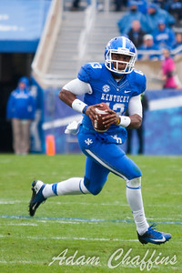 Jalen Whitlow, Freshman quarterback looking to pass the ball during the first half of the UK vs. Vanderbilt football game at Commonwealth Stadium, Photo by Adam Chaffins