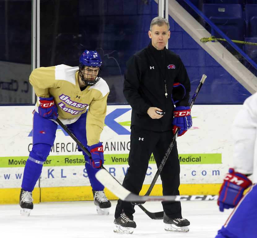 . Coach Norm Bazin at UMass Lowell hockey practice. (#8 not on last game roster I have) (SUN Julia Malakie)