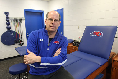 UMass Lowell head athletic trainer Artie Poitras longtime trainer for the hockey team, at Tsongas Center at UMass Lowell.  (SUN/Julia Malakie)