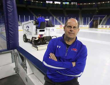 UMass Lowell head athletic trainer Artie Poitras, longtime trainer for the hockey team, at Tsongas Center at UMass Lowell.  (SUN/Julia Malakie)