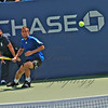 """Youzhny focused and ready with foot work to """"drive through"""" this anticipated forehand."""