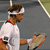 Here intense, David Ferrer, (Spain and seated 10). Never makes eye contact with crowd.