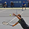 Opponent, Tommy Roberdo (Spain) honing in on a Youzhny serve to his backhand. Youzhny won the match, but Roberto took the third set.