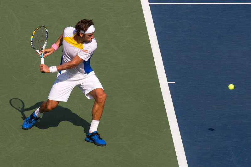Feliciano Lopez winds up to hit a backhand at the 2012 US Open