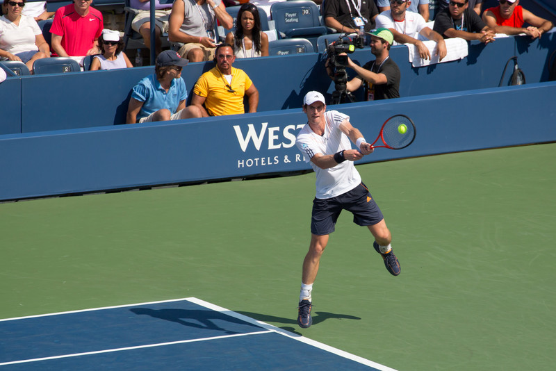 Andy Murray hits a backhand at the 2012 US Open